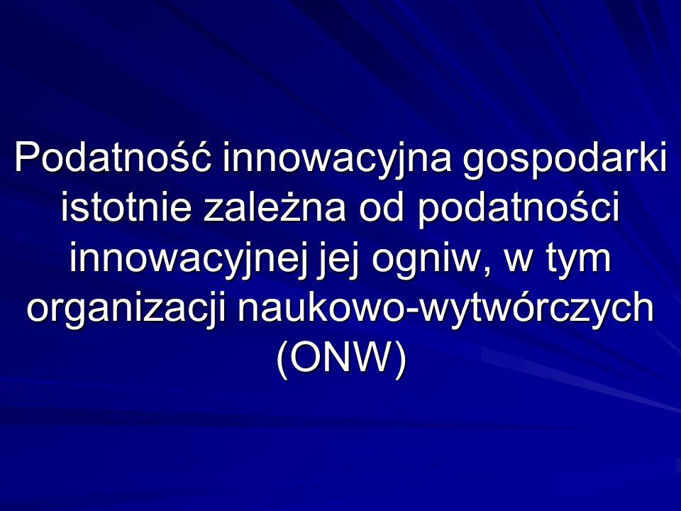 Podatność innowacyjna gospodarki istotnie zależna od podatności innowacyjnej jej ogniw, w tym organizacji naukowo-wytwórczych (ONW)