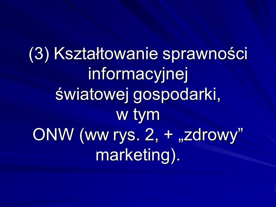 (3) Kształtowanie sprawności informacyjnej światowej gospodarki, w tym ONW (ww rys. 2, + zdrowy marketing).
