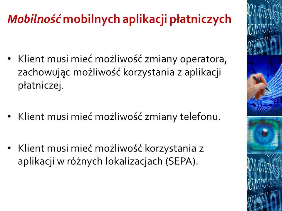 Mobilność mobilnych aplikacji płatniczych Klient musi mieć możliwość zmiany operatora, zachowując możliwość korzystania z aplikacji płatniczej. Klient