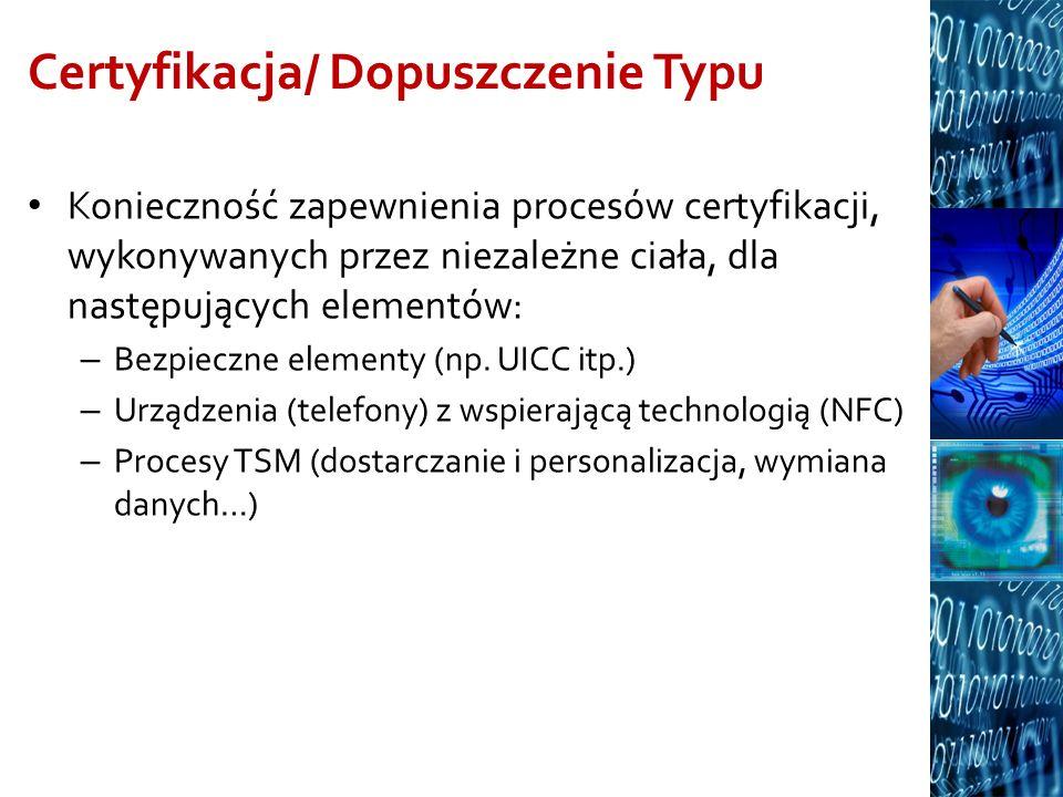 Certyfikacja/ Dopuszczenie Typu Konieczność zapewnienia procesów certyfikacji, wykonywanych przez niezależne ciała, dla następujących elementów: – Bez