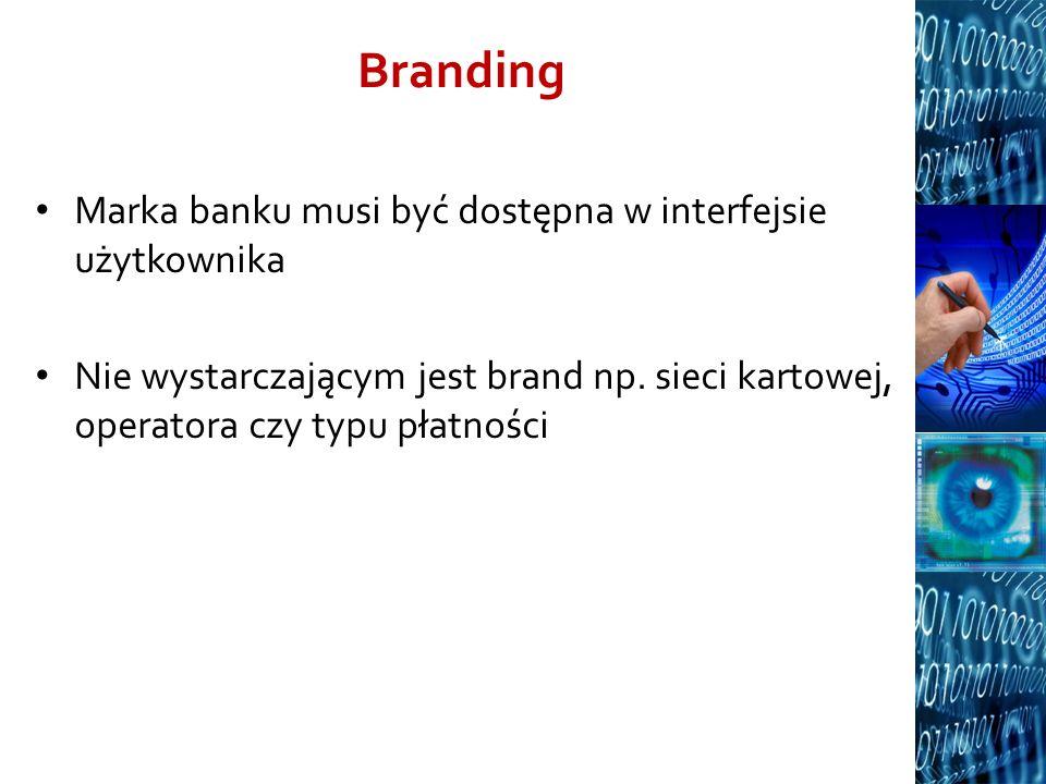 Branding Marka banku musi być dostępna w interfejsie użytkownika Nie wystarczającym jest brand np. sieci kartowej, operatora czy typu płatności