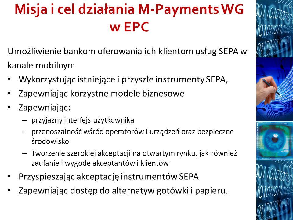 Misja i cel działania M-Payments WG w EPC Umożliwienie bankom oferowania ich klientom usług SEPA w kanale mobilnym Wykorzystując istniejące i przyszłe