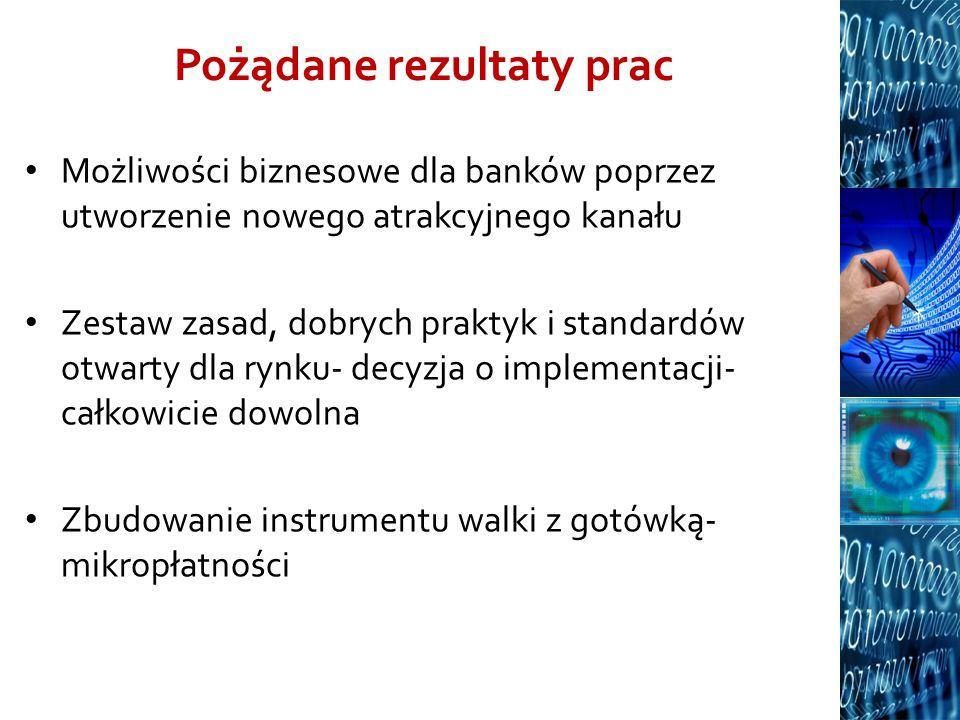Pożądane rezultaty prac Możliwości biznesowe dla banków poprzez utworzenie nowego atrakcyjnego kanału Zestaw zasad, dobrych praktyk i standardów otwar