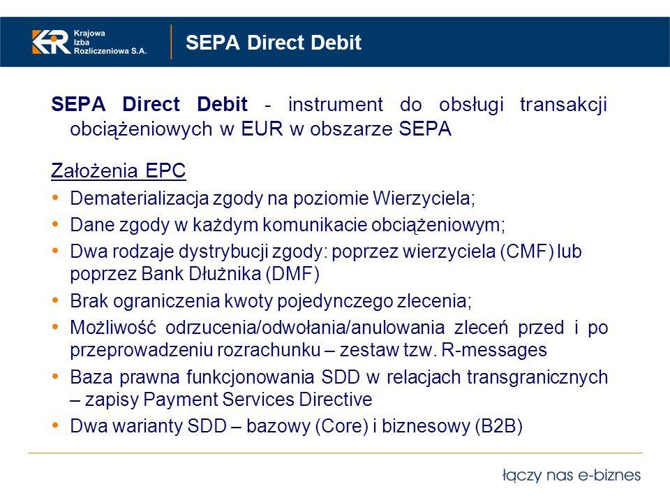 SEPA Direct Debit SEPA Direct Debit - instrument do obsługi transakcji obciążeniowych w EUR w obszarze SEPA Założenia EPC Dematerializacja zgody na po