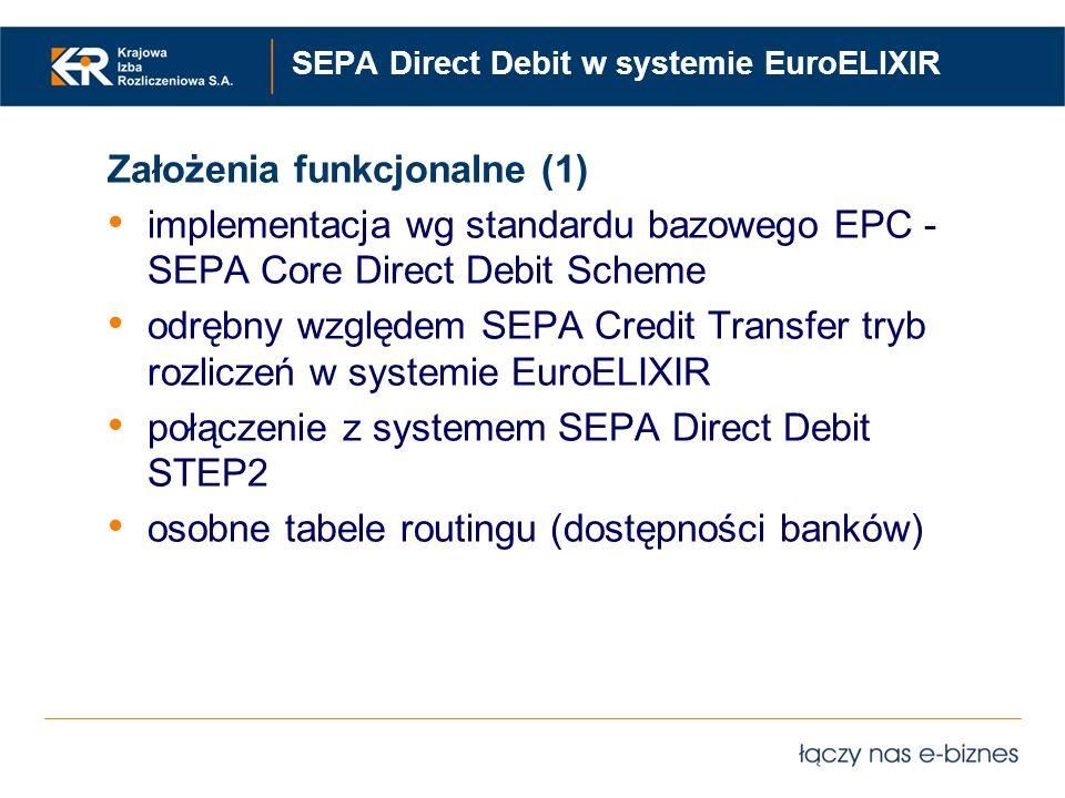 SEPA Direct Debit w systemie EuroELIXIR Założenia funkcjonalne (1) implementacja wg standardu bazowego EPC - SEPA Core Direct Debit Scheme odrębny wzg