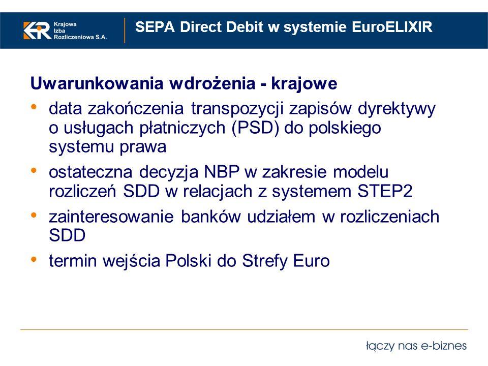 SEPA Direct Debit w systemie EuroELIXIR Uwarunkowania wdrożenia - krajowe data zakończenia transpozycji zapisów dyrektywy o usługach płatniczych (PSD)