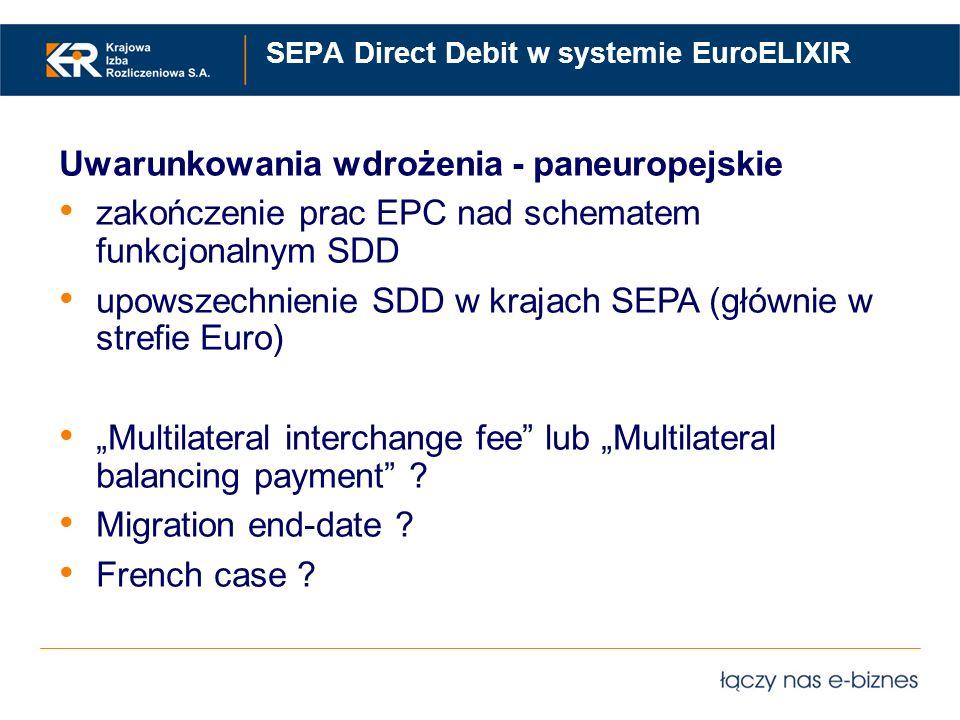 SEPA Direct Debit w systemie EuroELIXIR Uwarunkowania wdrożenia - paneuropejskie zakończenie prac EPC nad schematem funkcjonalnym SDD upowszechnienie