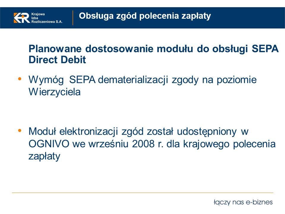 Obsługa zgód polecenia zapłaty Planowane dostosowanie modułu do obsługi SEPA Direct Debit Wymóg SEPA dematerializacji zgody na poziomie Wierzyciela Mo