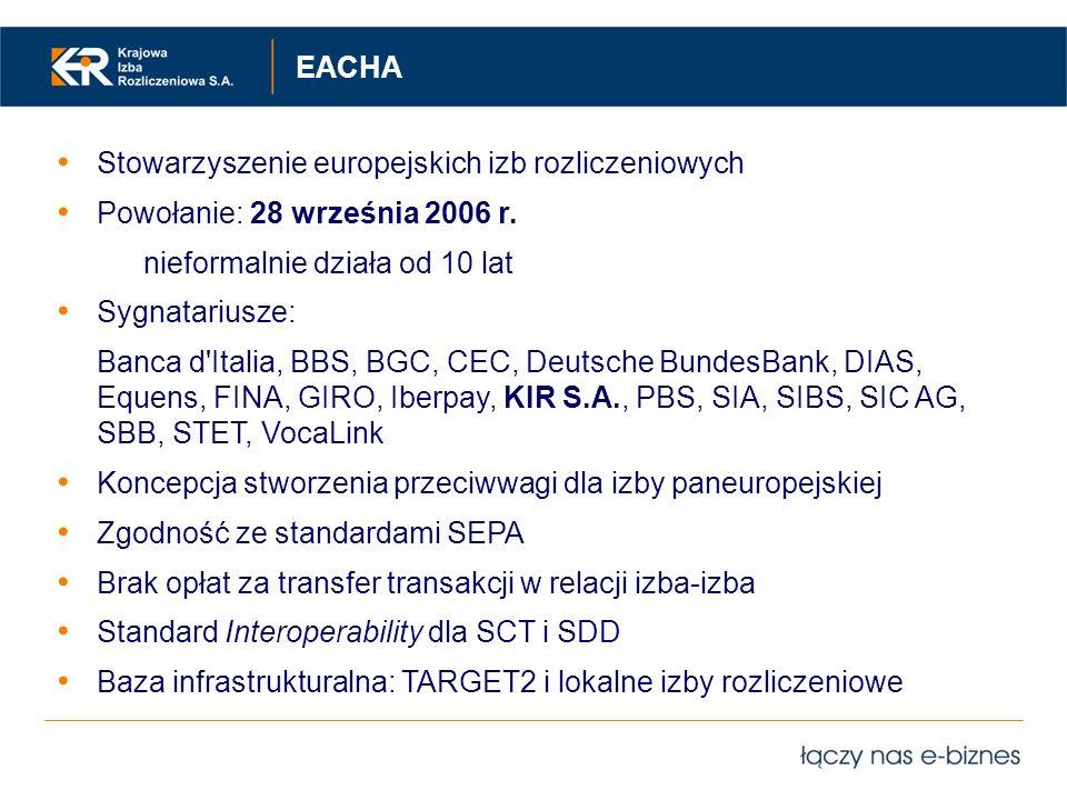 Stowarzyszenie europejskich izb rozliczeniowych Powołanie: 28 września 2006 r. nieformalnie działa od 10 lat Sygnatariusze: Banca d'Italia, BBS, BGC,
