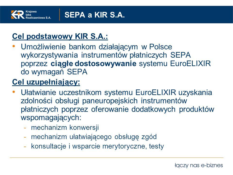 SEPA a KIR S.A. Cel podstawowy KIR S.A.: Umożliwienie bankom działającym w Polsce wykorzystywania instrumentów płatniczych SEPA poprzez ciągłe dostoso