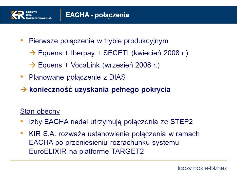 Pierwsze połączenia w trybie produkcyjnym Equens + Iberpay + SECETI (kwiecień 2008 r.) Equens + VocaLink (wrzesień 2008 r.) Planowane połączenie z DIA
