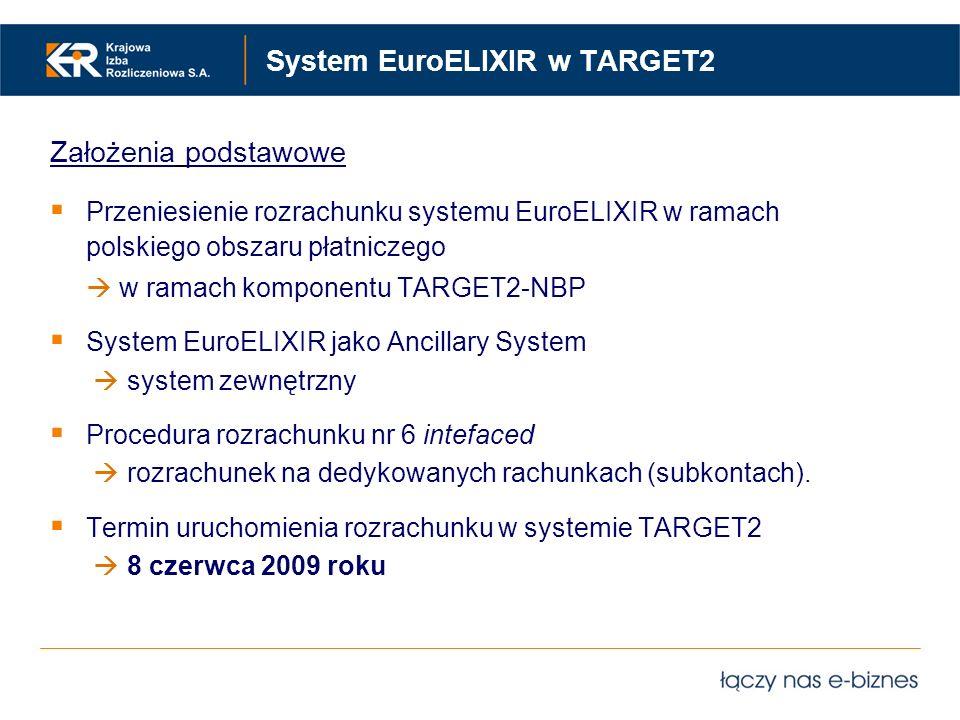 System EuroELIXIR w TARGET2 Założenia podstawowe Przeniesienie rozrachunku systemu EuroELIXIR w ramach polskiego obszaru płatniczego w ramach komponen