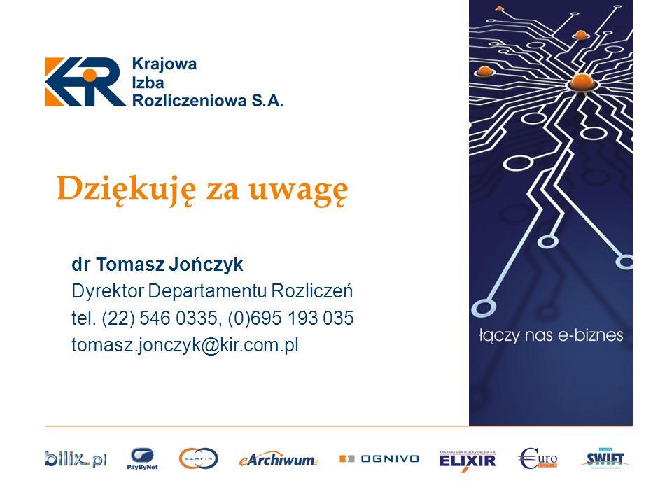 Dziękuję za uwagę dr Tomasz Jończyk Dyrektor Departamentu Rozliczeń tel. (22) 546 0335, (0)695 193 035 tomasz.jonczyk@kir.com.pl