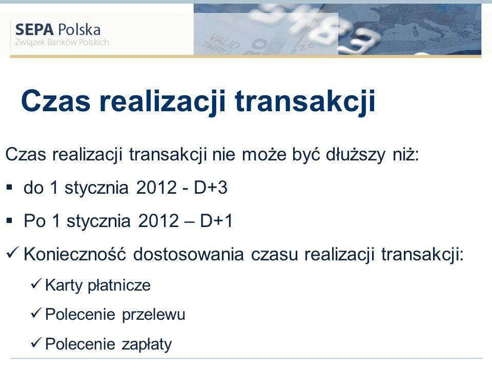 Czas realizacji transakcji Czas realizacji transakcji nie może być dłuższy niż: do 1 stycznia 2012 - D+3 Po 1 stycznia 2012 – D+1 Konieczność dostosow
