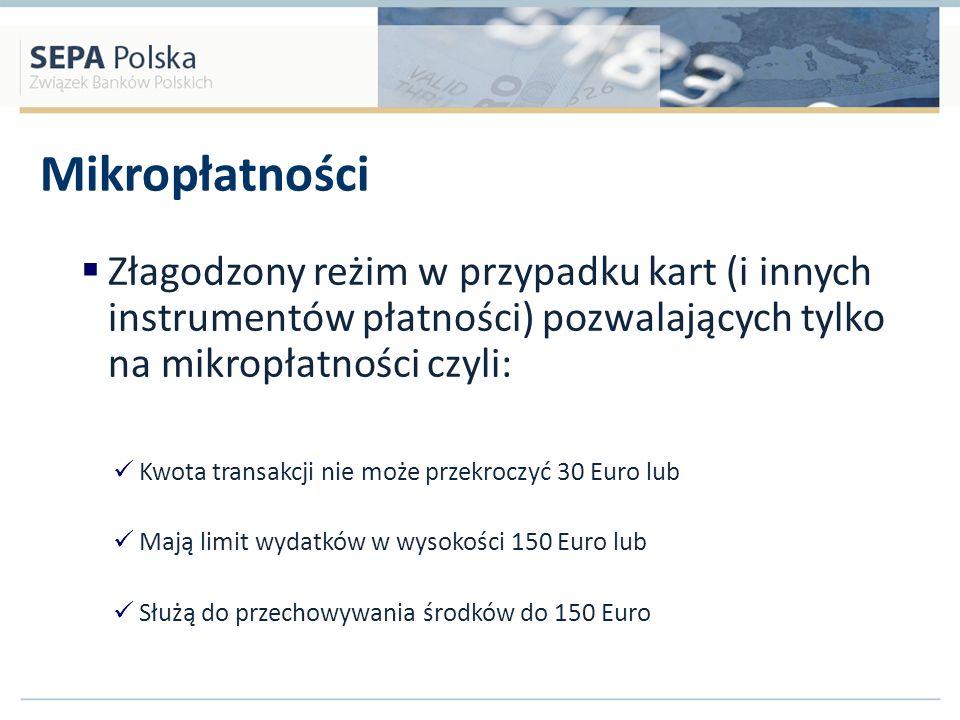 Mikropłatności Złagodzony reżim w przypadku kart (i innych instrumentów płatności) pozwalających tylko na mikropłatności czyli: Kwota transakcji nie m