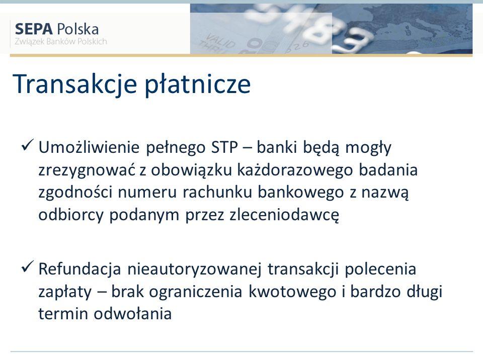 Transakcje płatnicze Umożliwienie pełnego STP – banki będą mogły zrezygnować z obowiązku każdorazowego badania zgodności numeru rachunku bankowego z n