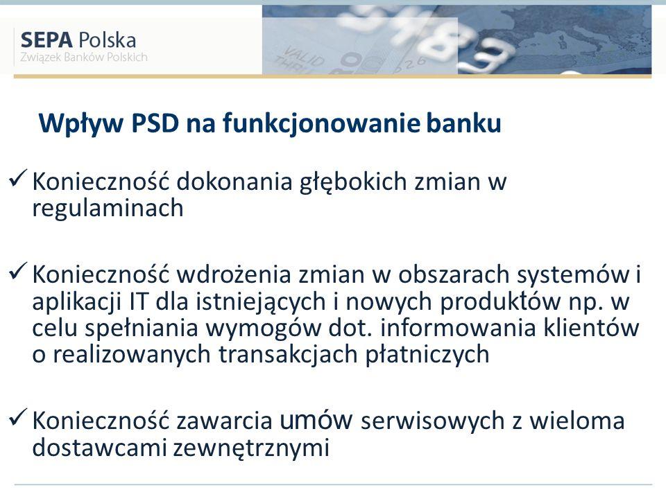 Wpływ PSD na funkcjonowanie banku Konieczność dokonania głębokich zmian w regulaminach Konieczność wdrożenia zmian w obszarach systemów i aplikacji IT