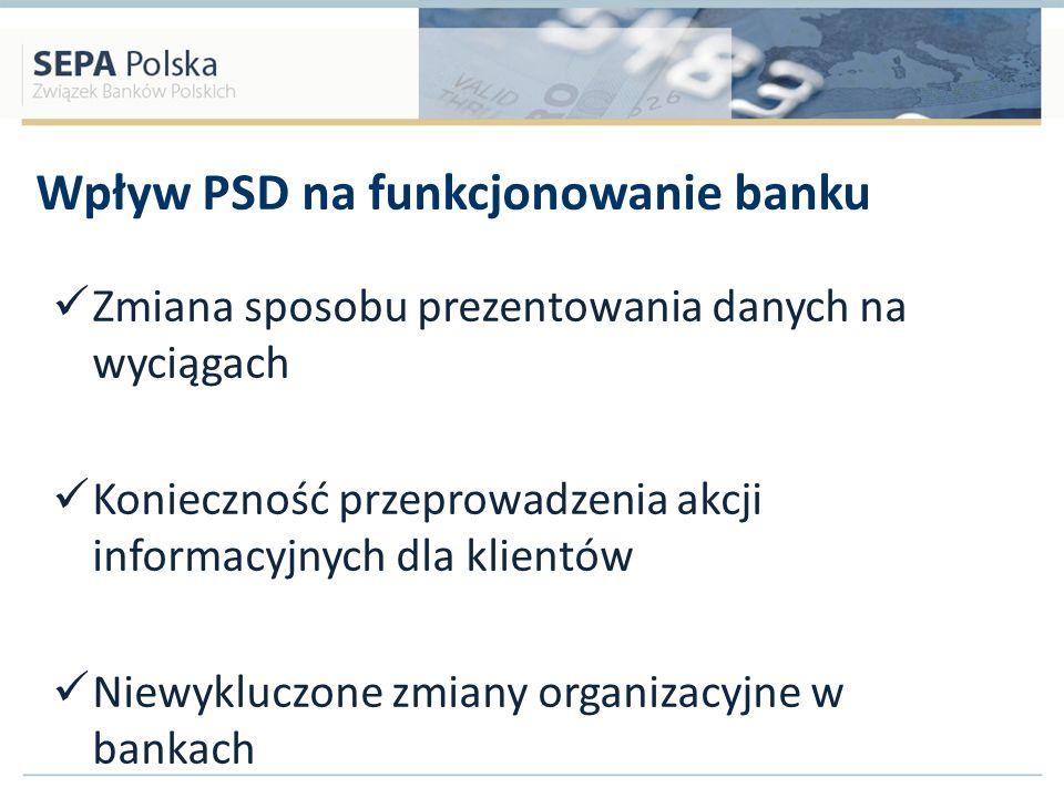 Wpływ PSD na funkcjonowanie banku Zmiana sposobu prezentowania danych na wyciągach Konieczność przeprowadzenia akcji informacyjnych dla klientów Niewy