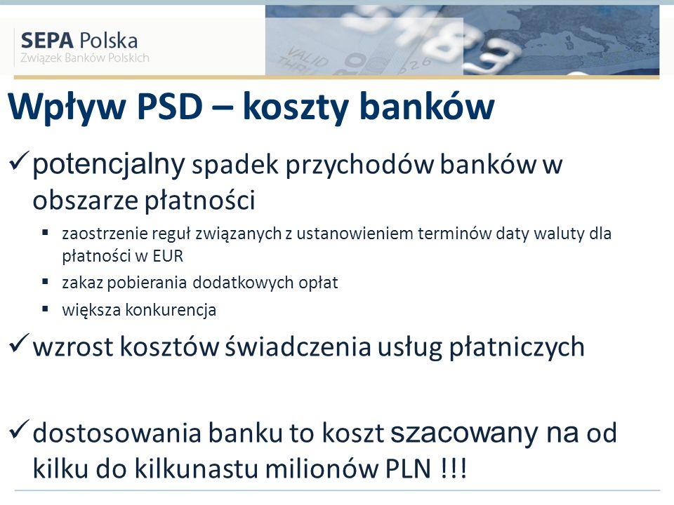 Wpływ PSD – koszty banków potencjalny spadek przychodów banków w obszarze płatności zaostrzenie reguł związanych z ustanowieniem terminów daty waluty