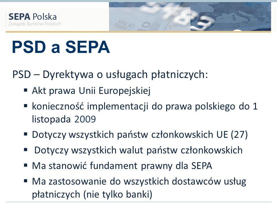 PSD a SEPA Zestaw zasad i reguł nie będących aktem prawa – samoregulacja Członkowie (bezpośredni i pośredni) EPC zobowiązali się do wdrożenia SCF (od 2008 do 2010) Dotyczy tylko transakcji w walucie Euro Dotyczy bezpośrednio banków oraz pośrednio izb rozliczeniowych, organizacji kart płatniczych, sieci bankomatów, agentów rozliczeniowych etc.