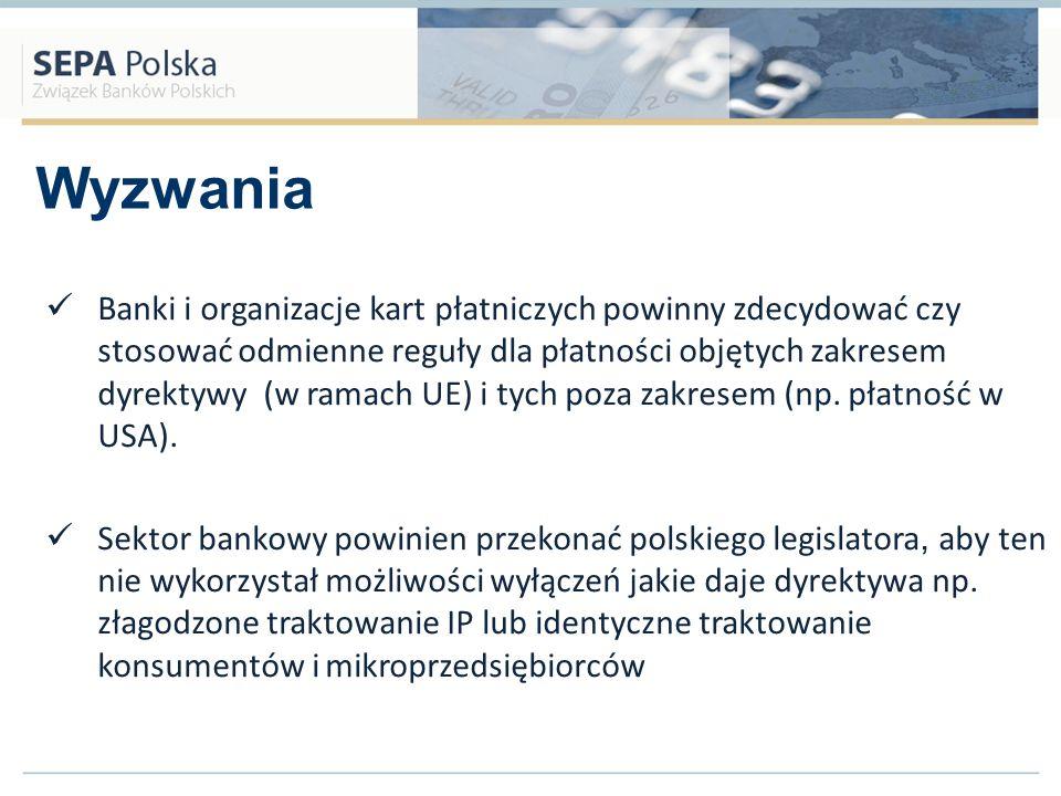 Wyzwania Banki i organizacje kart płatniczych powinny zdecydować czy stosować odmienne reguły dla płatności objętych zakresem dyrektywy (w ramach UE)