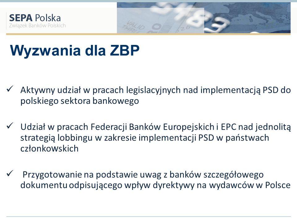 Wyzwania dla ZBP Aktywny udział w pracach legislacyjnych nad implementacją PSD do polskiego sektora bankowego Udział w pracach Federacji Banków Europe
