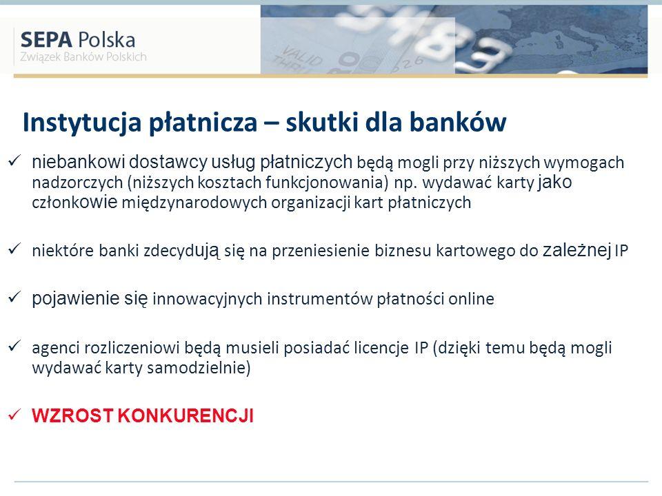 Instytucja płatnicza – skutki dla banków niebankowi dostawcy usług płatniczych będą mogli przy niższych wymogach nadzorczych (niższych kosztach funkcj