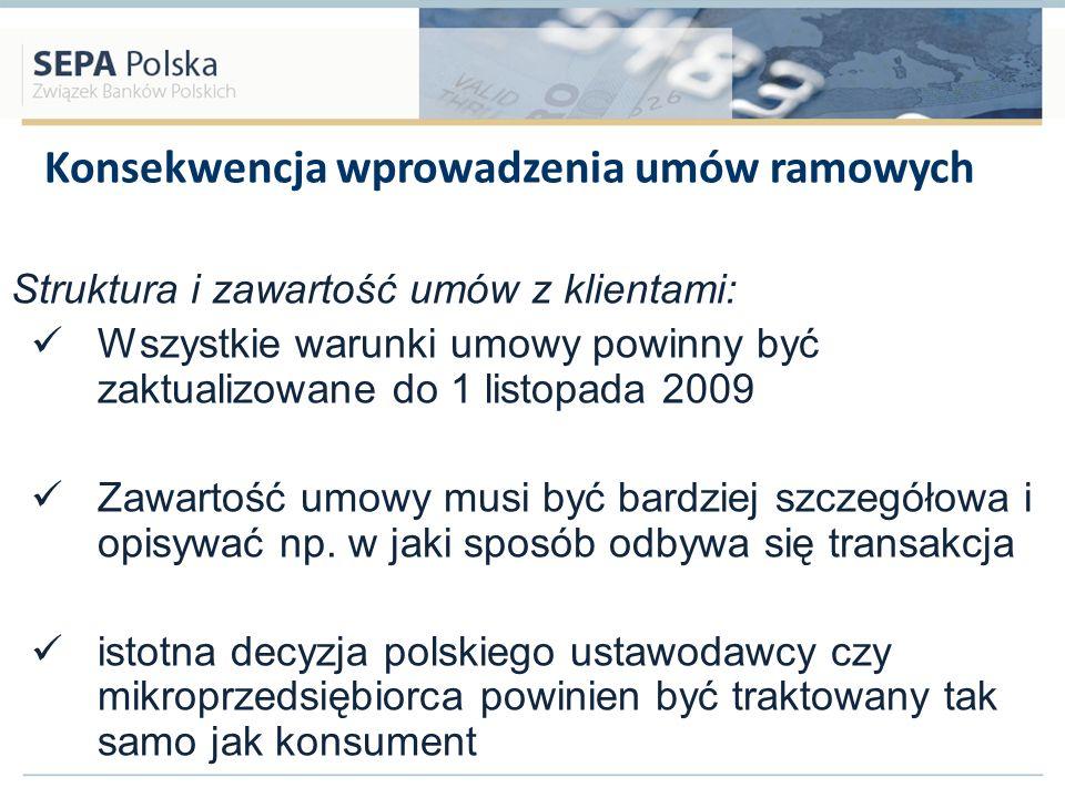 Konsekwencja wprowadzenia umów ramowych Struktura i zawartość umów z klientami: Wszystkie warunki umowy powinny być zaktualizowane do 1 listopada 2009