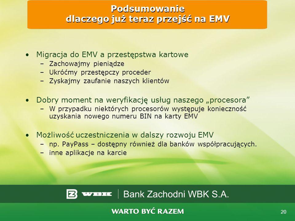 20 Podsumowanie dlaczego już teraz przejść na EMV Migracja do EMV a przestępstwa kartowe –Zachowajmy pieniądze –Ukróćmy przestępczy proceder –Zyskajmy zaufanie naszych klientów Dobry moment na weryfikację usług naszego procesora –W przypadku niektórych procesorów występuje konieczność uzyskania nowego numeru BIN na karty EMV Możliwość uczestniczenia w dalszy rozwoju EMV –np.