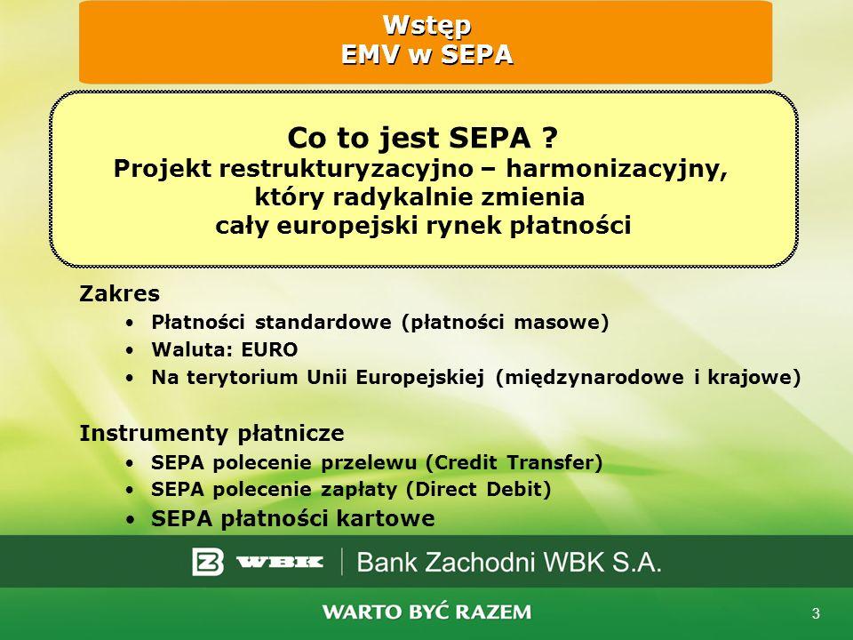 4 Wspólny Rynek UE => Wspólny Rynek Usług Finansowych => Wspólny Rynek Płatności => SEPA dla kart = SEPA Cards Framework (SCF) Data ostatecznego zakończenia migracji na EMV to: 31.Grudzień 2010 roku Wstęp EMV w SEPA Misja: Doświadczenie użytkownika karty w obszarze SEPA nie będzie zależeć od kraju, w którym została wydana karta, ani od kraju gdzie jest akceptowana