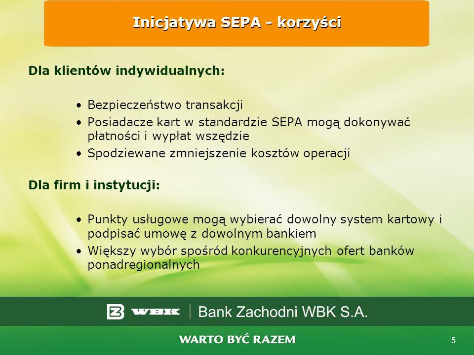 5 Dla klientów indywidualnych: Bezpieczeństwo transakcji Posiadacze kart w standardzie SEPA mogą dokonywać płatności i wypłat wszędzie Spodziewane zmniejszenie kosztów operacji Dla firm i instytucji: Punkty usługowe mogą wybierać dowolny system kartowy i podpisać umowę z dowolnym bankiem Większy wybór spośród konkurencyjnych ofert banków ponadregionalnych Inicjatywa SEPA - korzyści
