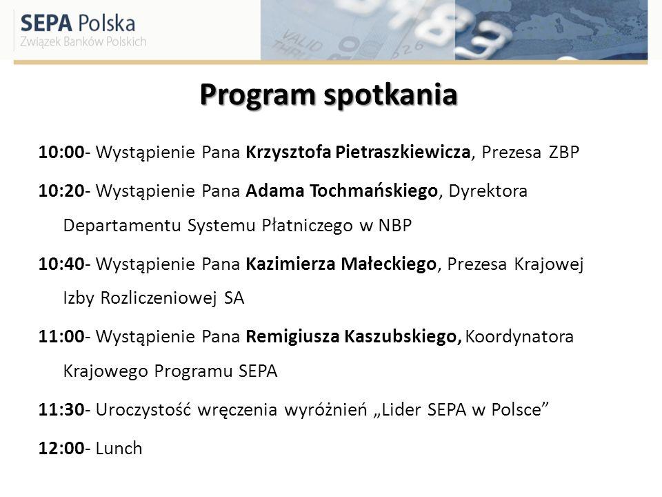 Program spotkania 10:00- Wystąpienie Pana Krzysztofa Pietraszkiewicza, Prezesa ZBP 10:20- Wystąpienie Pana Adama Tochmańskiego, Dyrektora Departamentu