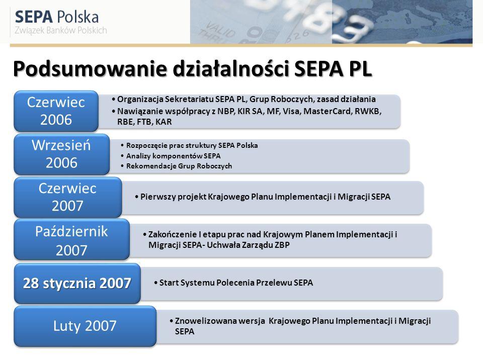 Podsumowanie działalności SEPA PL Organizacja Sekretariatu SEPA PL, Grup Roboczych, zasad działania Nawiązanie współpracy z NBP, KIR SA, MF, Visa, Mas