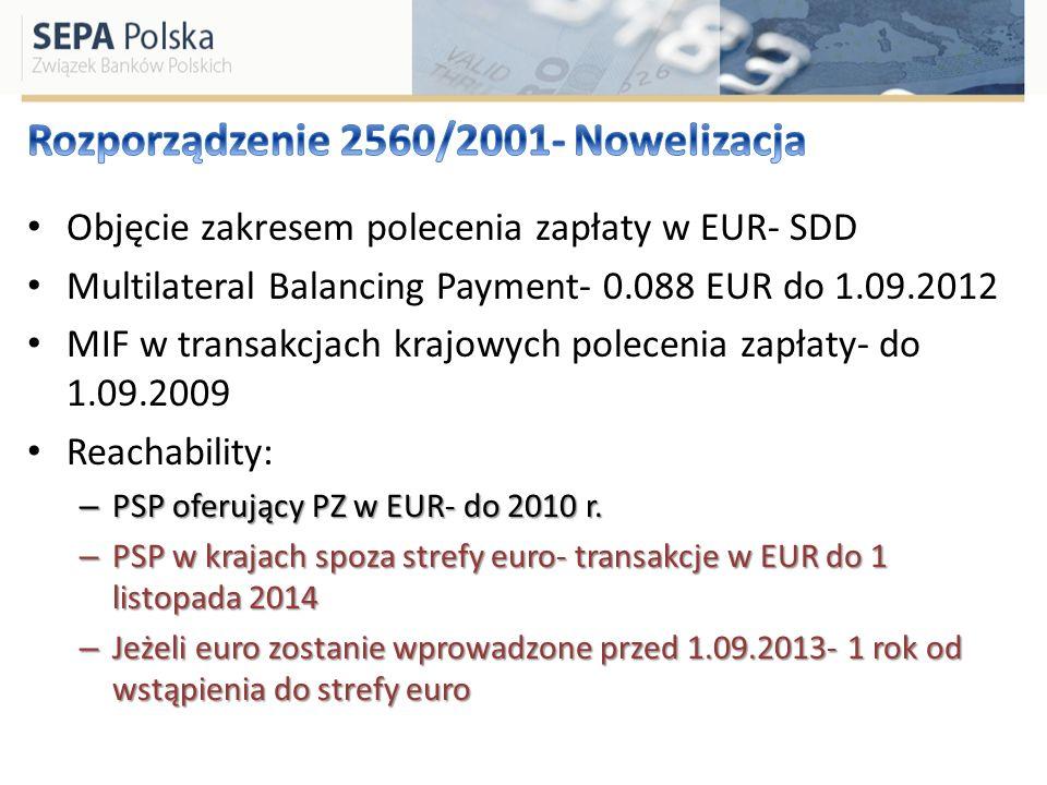 Objęcie zakresem polecenia zapłaty w EUR- SDD Multilateral Balancing Payment- 0.088 EUR do 1.09.2012 MIF w transakcjach krajowych polecenia zapłaty- d