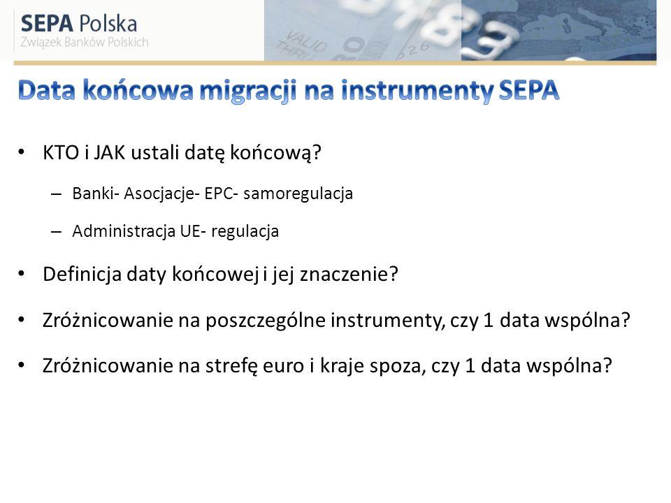 KTO i JAK ustali datę końcową? – Banki- Asocjacje- EPC- samoregulacja – Administracja UE- regulacja Definicja daty końcowej i jej znaczenie? Zróżnicow