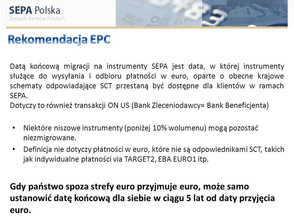 Datą końcową migracji na instrumenty SEPA jest data, w której instrumenty służące do wysyłania i odbioru płatności w euro, oparte o obecne krajowe sch
