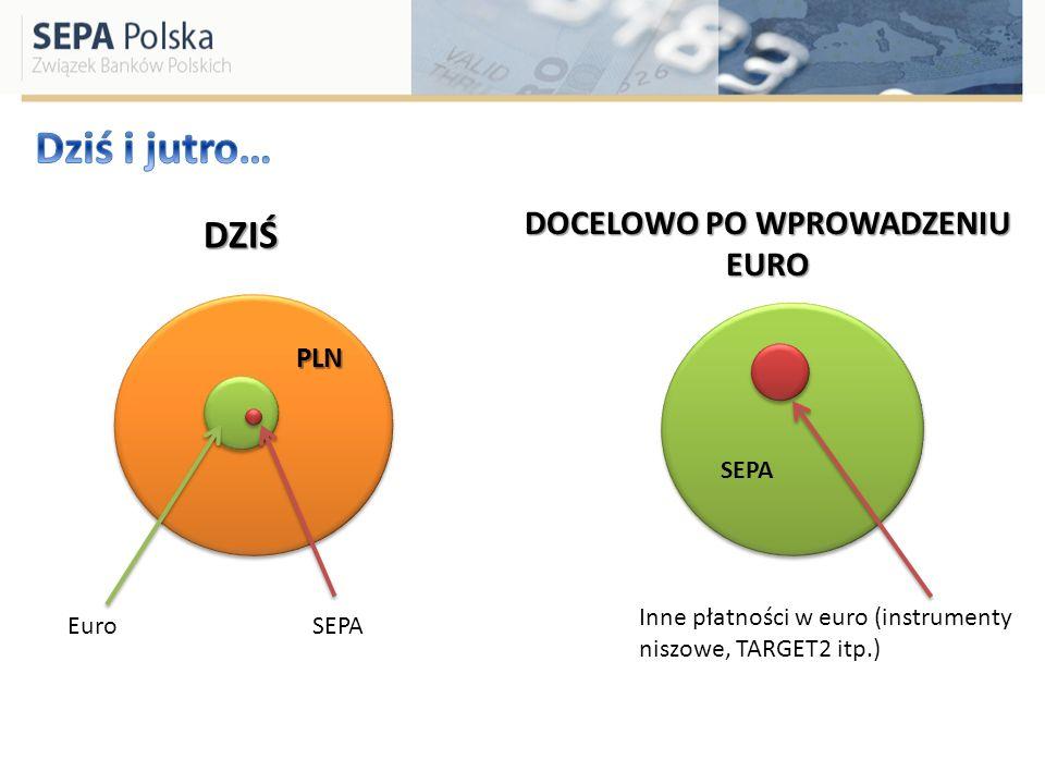 Systemy transferu i rozrachunku płatności w Euro Systemy transferu i rozrachunku płatności w PLN SEPA Konieczność utrzymywania różnych systemów równocześnie Koszty Złożone, zróżnicowane procedury Brak przejrzystości i pewności po stronie klientów Wspólne, paneuropejskie schematy płatności, zasady, procedury Efektywność kosztowa Migracja masy krytycznej jeszcze przed wejściem do euro- znaczne oszczędności dla systemu płatniczego i mniej pracy dla jego uczestników ZAKOŃCZENIE MIGRACJI NA SEPA WPROWADZENIE EURO 2008- 2012.