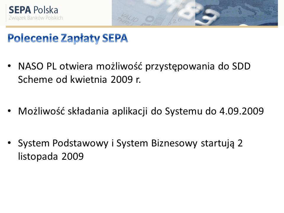 NASO PL otwiera możliwość przystępowania do SDD Scheme od kwietnia 2009 r. Możliwość składania aplikacji do Systemu do 4.09.2009 System Podstawowy i S