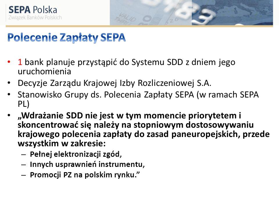 Objęcie zakresem polecenia zapłaty w EUR- SDD Multilateral Balancing Payment- 0.088 EUR do 1.09.2012 MIF w transakcjach krajowych polecenia zapłaty- do 1.09.2009 Reachability: – PSP oferujący PZ w EUR- do 2010 r.