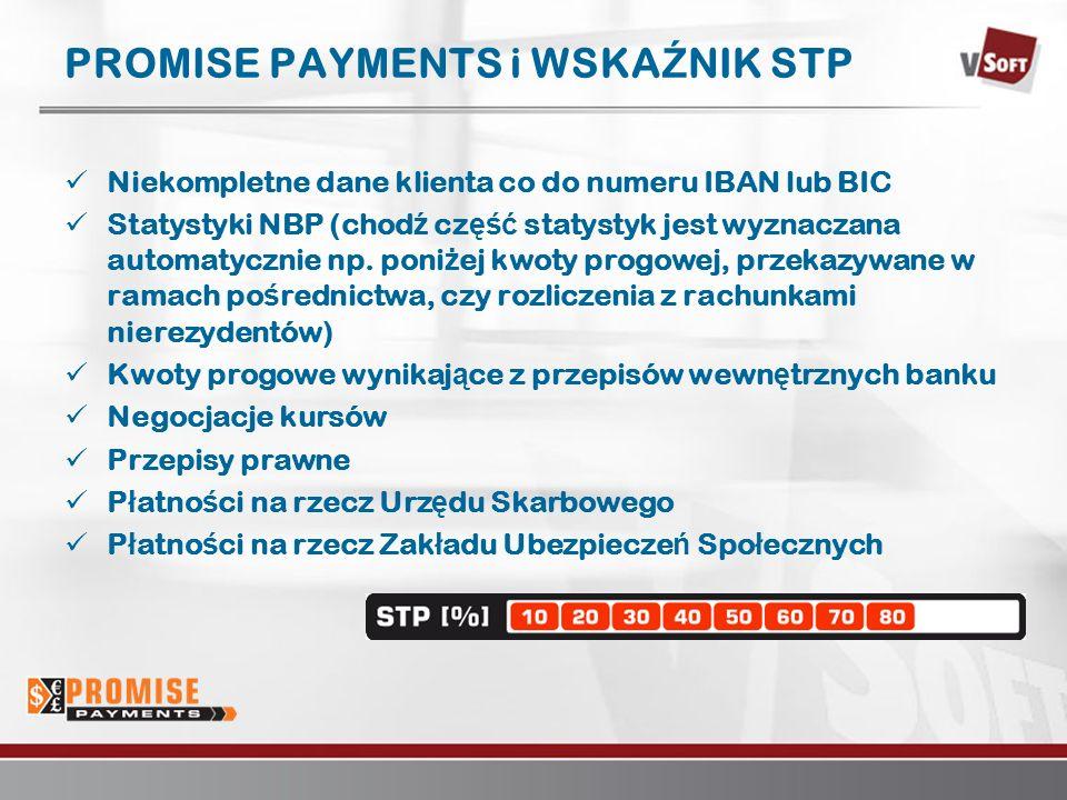 Warszawa 2007www.vsoft.pl PROMISE PAYMENTS i WSKA Ź NIK STP Niekompletne dane klienta co do numeru IBAN lub BIC Statystyki NBP (chod ź cz ęść statystyk jest wyznaczana automatycznie np.