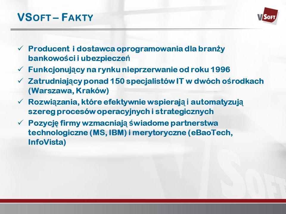Warszawa 2007www.vsoft.pl VS OFT – F AKTY Producent i dostawca oprogramowania dla bran ż y bankowo ś ci i ubezpiecze ń Funkcjonuj ą cy na rynku nieprz