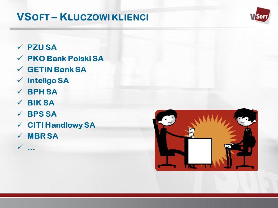 Warszawa 2007www.vsoft.pl VS OFT – K LUCZOWI KLIENCI PZU SA PKO Bank Polski SA GETIN Bank SA Inteligo SA BPH SA BIK SA BPS SA CITI Handlowy SA MBR SA