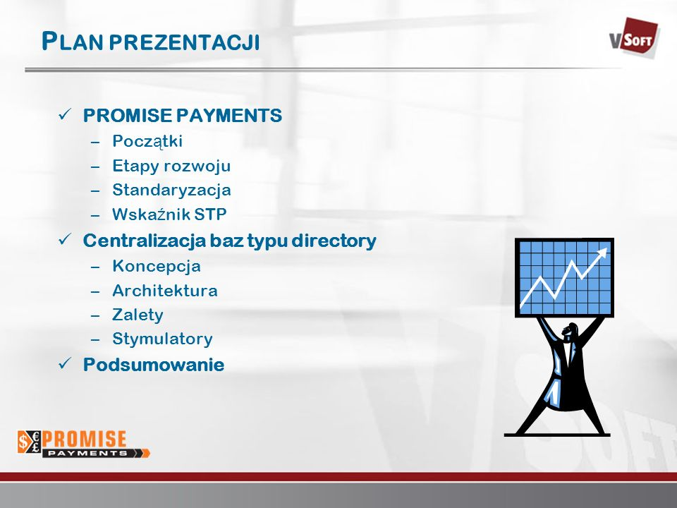 Warszawa 2007www.vsoft.pl P LAN PREZENTACJI PROMISE PAYMENTS –Pocz ą tki –Etapy rozwoju –Standaryzacja –Wska ź nik STP Centralizacja baz typu director
