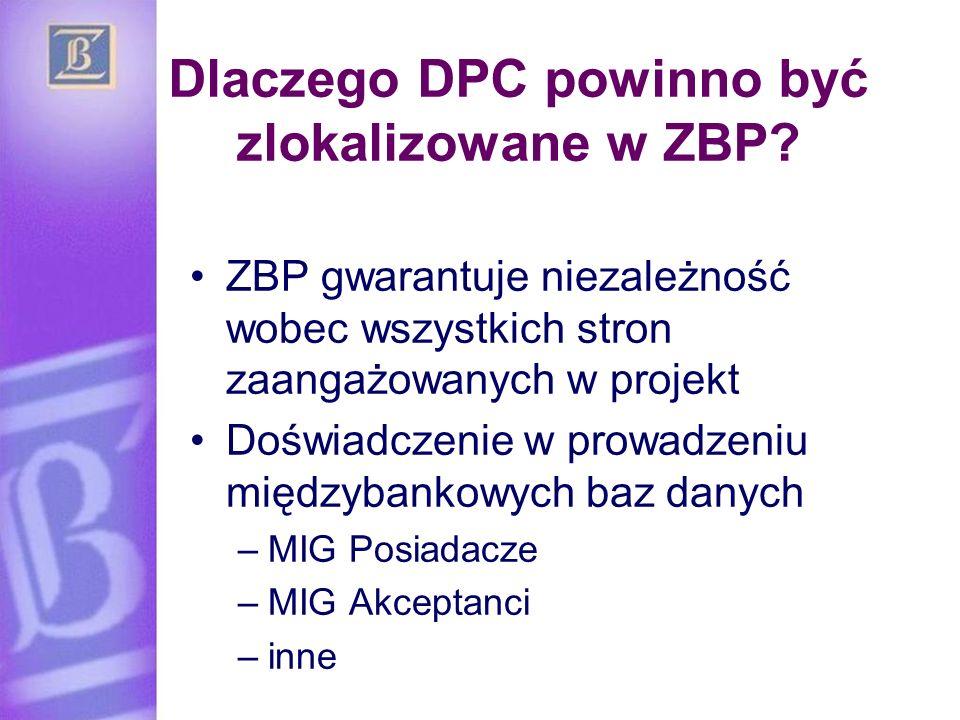 Dlaczego DPC powinno być zlokalizowane w ZBP? ZBP gwarantuje niezależność wobec wszystkich stron zaangażowanych w projekt Doświadczenie w prowadzeniu