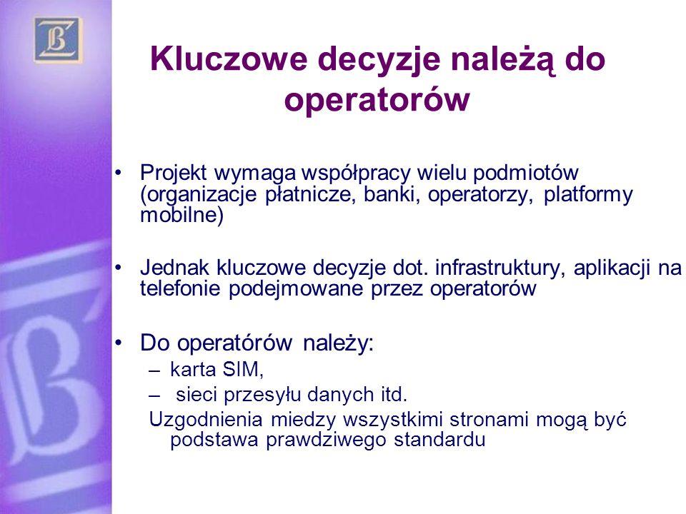 Kluczowe decyzje należą do operatorów Projekt wymaga współpracy wielu podmiotów (organizacje płatnicze, banki, operatorzy, platformy mobilne) Jednak k