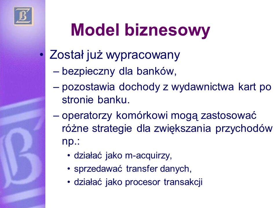 Model biznesowy Został już wypracowany –bezpieczny dla banków, –pozostawia dochody z wydawnictwa kart po stronie banku. –operatorzy komórkowi mogą zas