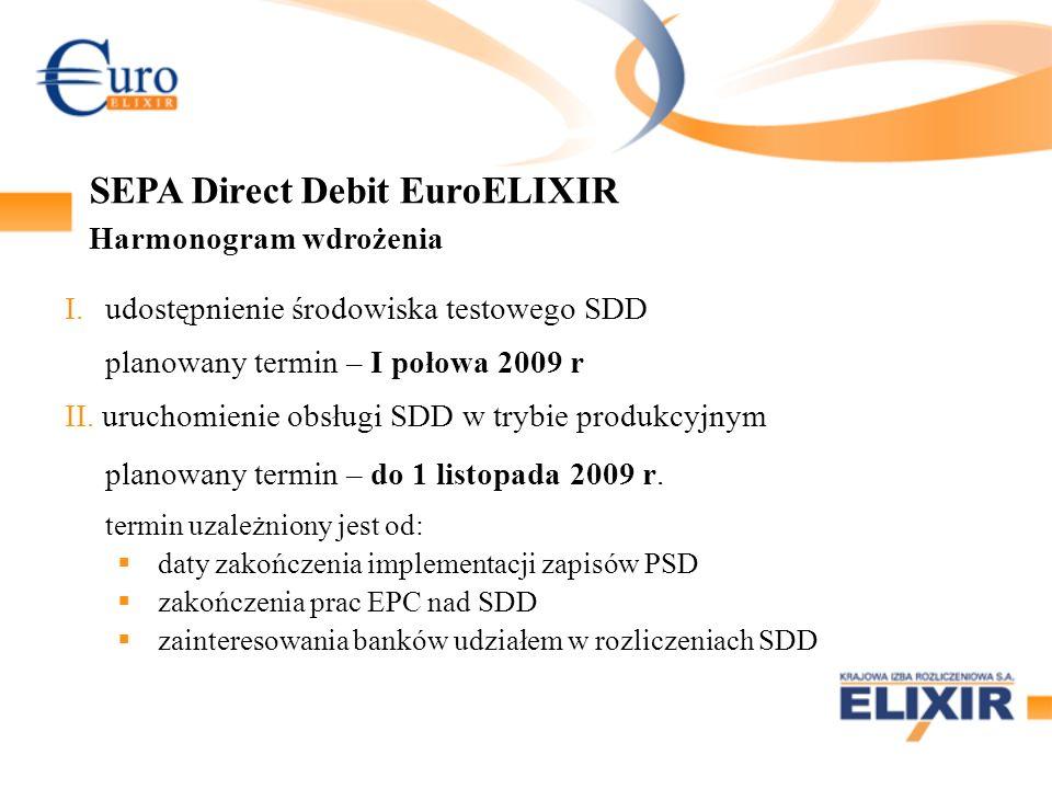 I.udostępnienie środowiska testowego SDD planowany termin – I połowa 2009 r II.