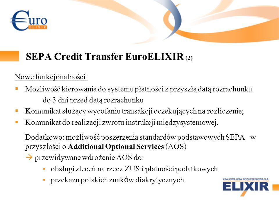 SEPA Credit Transfer EuroELIXIR (2) Nowe funkcjonalności: Możliwość kierowania do systemu płatności z przyszłą datą rozrachunku do 3 dni przed datą rozrachunku Komunikat służący wycofaniu transakcji oczekujących na rozliczenie; Komunikat do realizacji zwrotu instrukcji międzysystemowej.