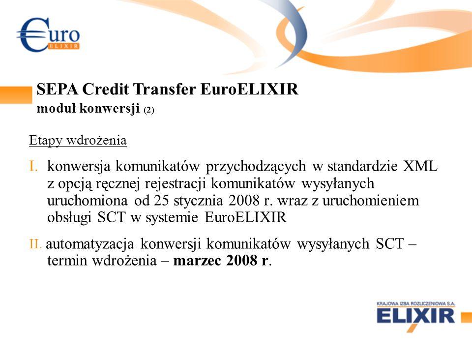 Etapy wdrożenia I.konwersja komunikatów przychodzących w standardzie XML z opcją ręcznej rejestracji komunikatów wysyłanych uruchomiona od 25 stycznia 2008 r.