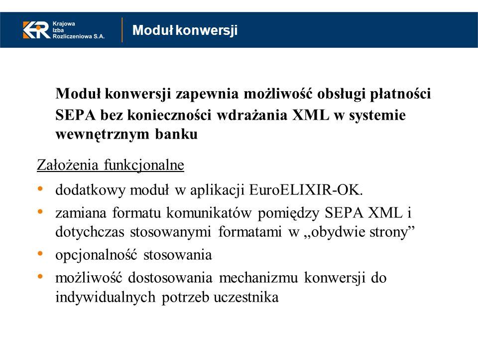 Moduł konwersji zapewnia możliwość obsługi płatności SEPA bez konieczności wdrażania XML w systemie wewnętrznym banku Założenia funkcjonalne dodatkowy